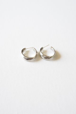 Criss Cross Hoops (Silver)