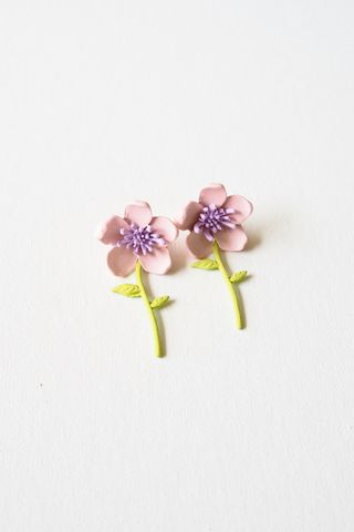 2 Way Flower Earstuds (Pink)