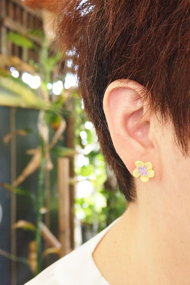 2 Way Mini Flower Earstuds (Yellow)