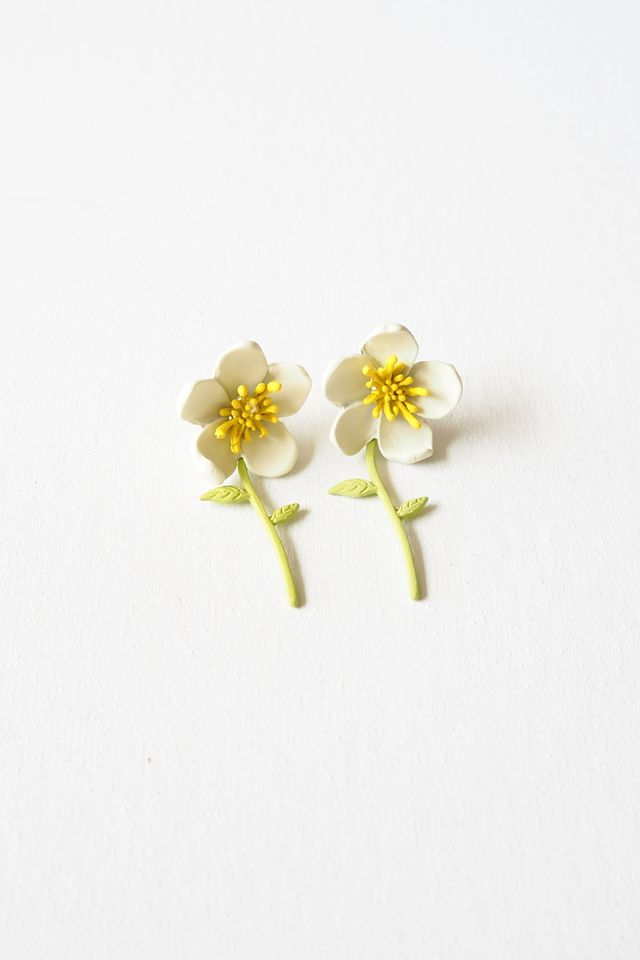 2 Way Flower Earstuds (White)