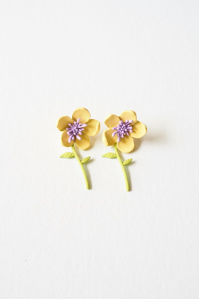 2 Way Flower Earstuds (Yellow)