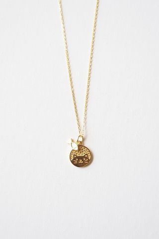 Kitty & Fish Necklace (Gold)