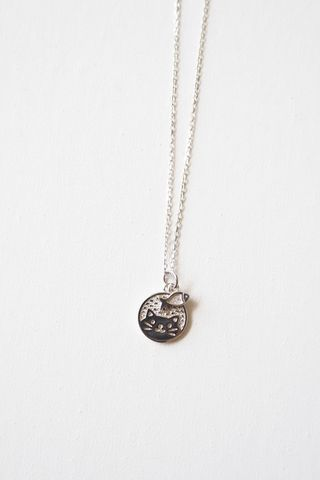 Kitty & Fish Necklace (Silver)