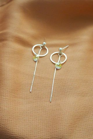 Circle Dangle Crystal Earstuds