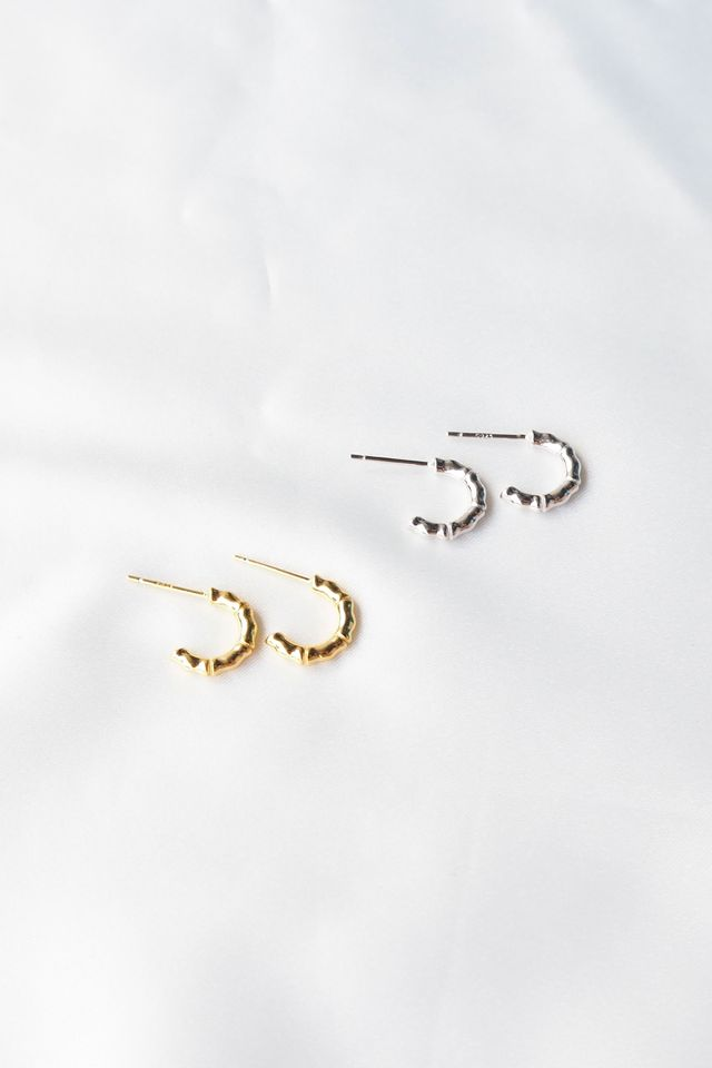 Mini Textured Hoops (Silver)