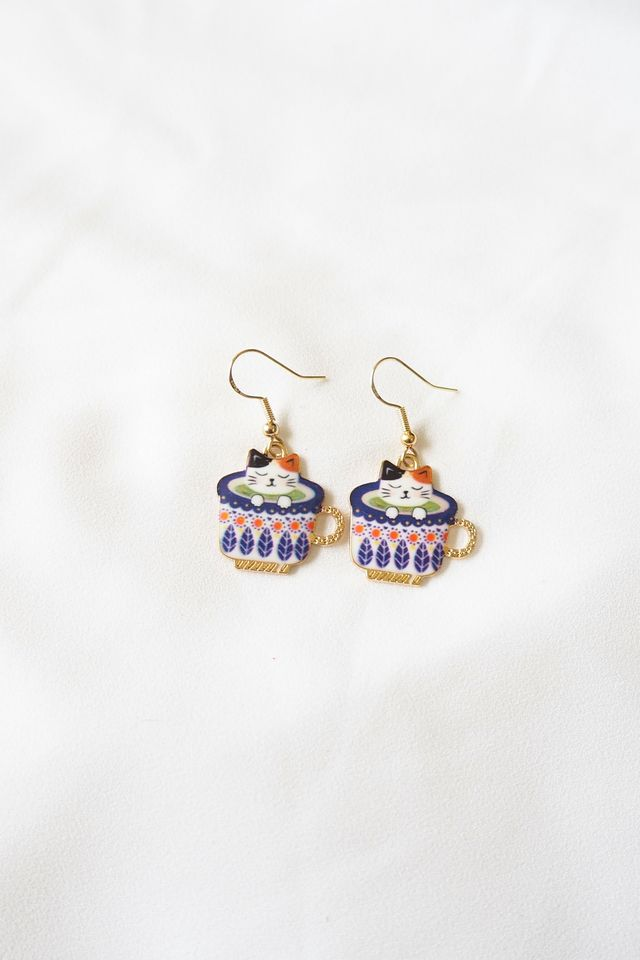 Kitty Cup Earrings (Purple)