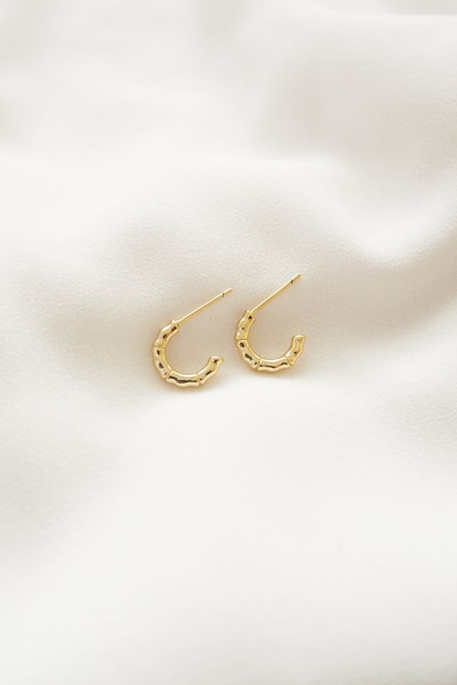 Mini Textured Hoops (Gold)