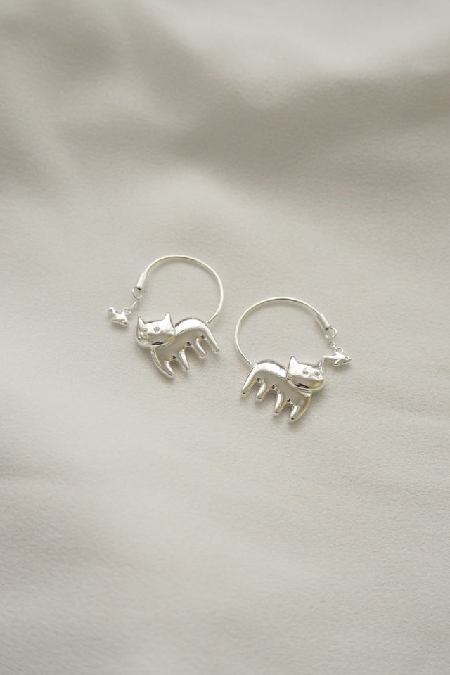 Cat & Fish Earrings (Silver)