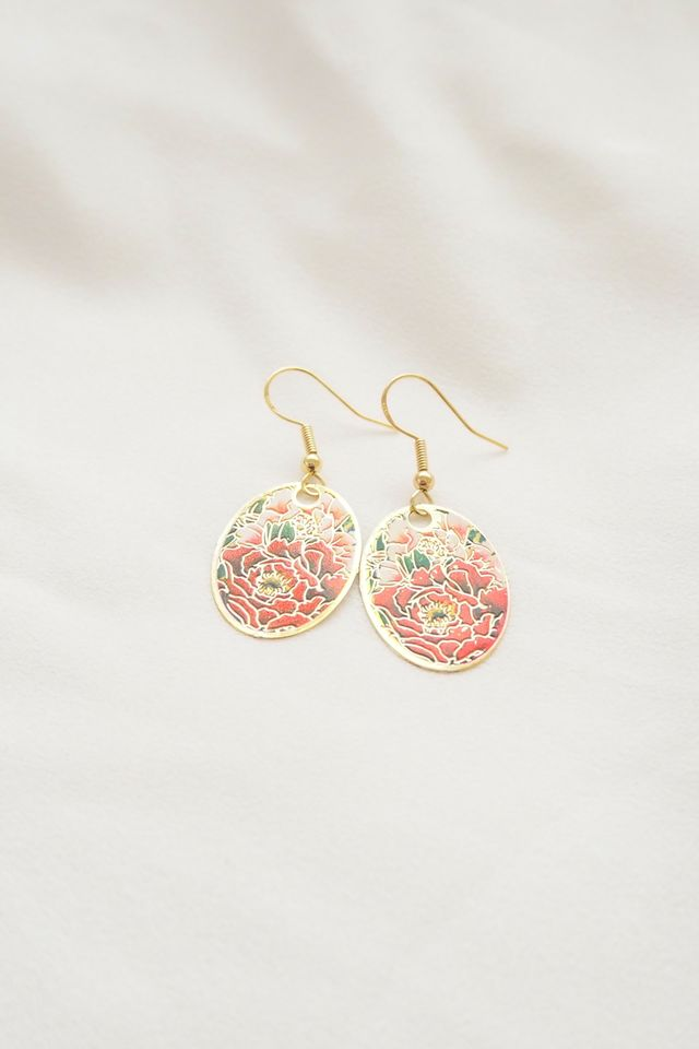 Mini Oriental Earrings (Red)