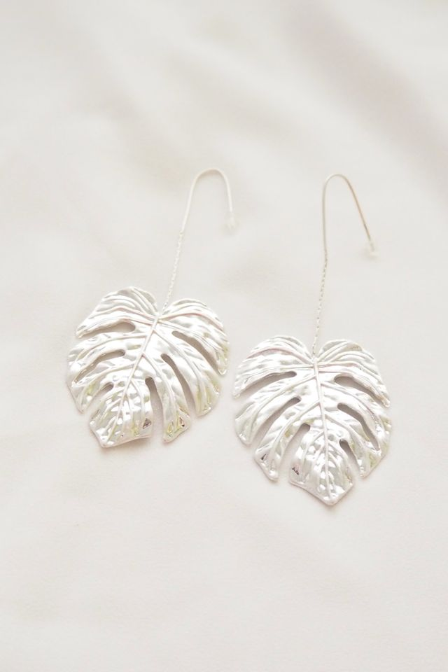 Textured Leafy Hooks (Silver)