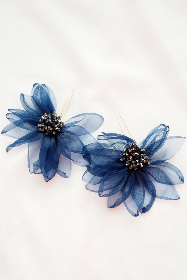 Chiffon Flower Hooks (Midnight)