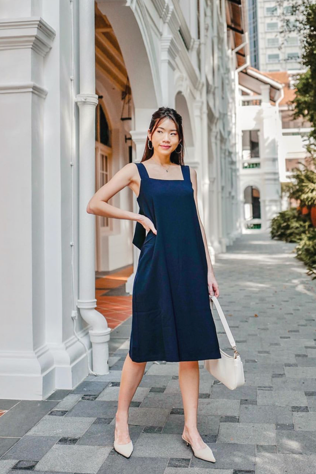 Knot Back Midi (Navy) [Size XS - XL]