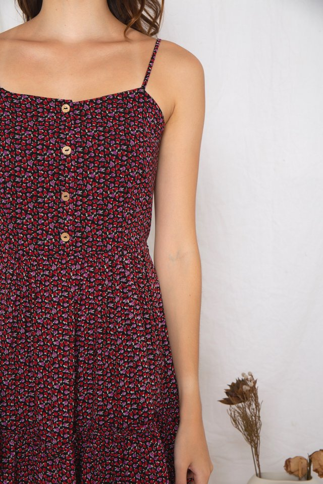 Floral Tiered Dress (Berry)