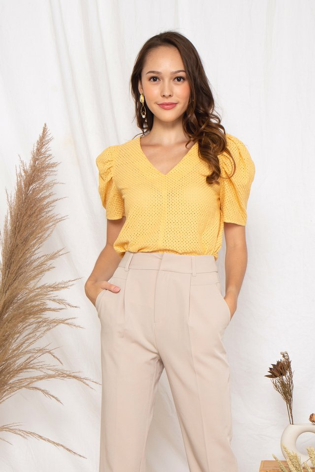 Textured V Neck Top [Size S - L]