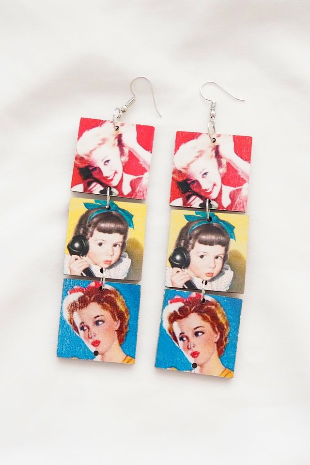 Vintage Poster Girl Earrings