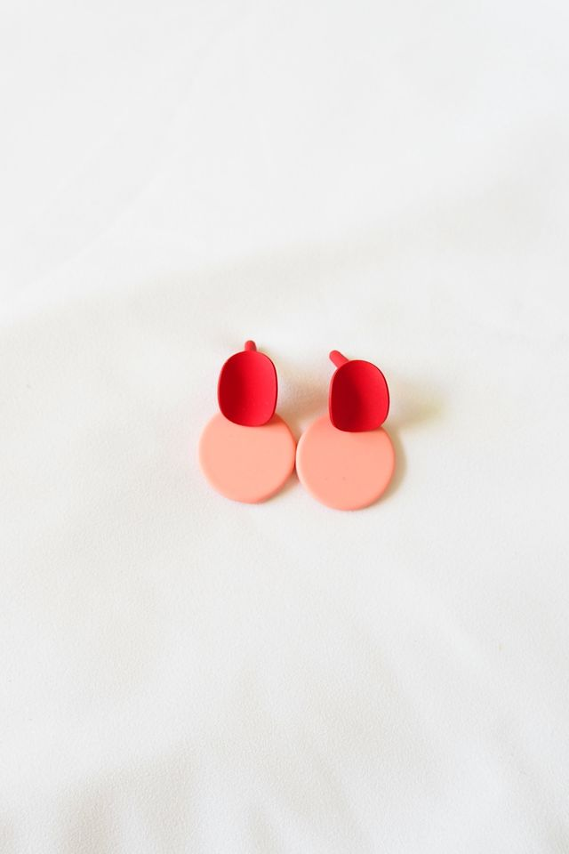 Mini Colourblock Earstuds (Pink)