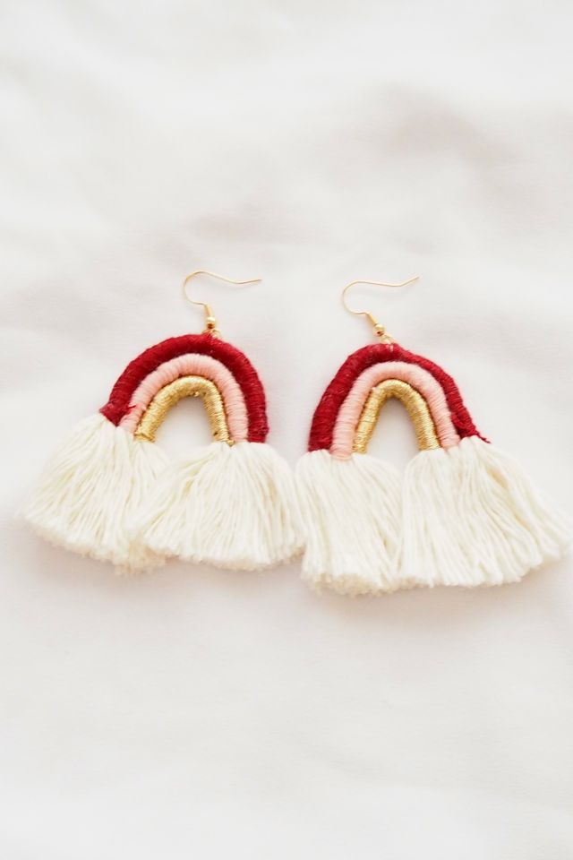 Rainbow Macramé Earrings (Maroon)