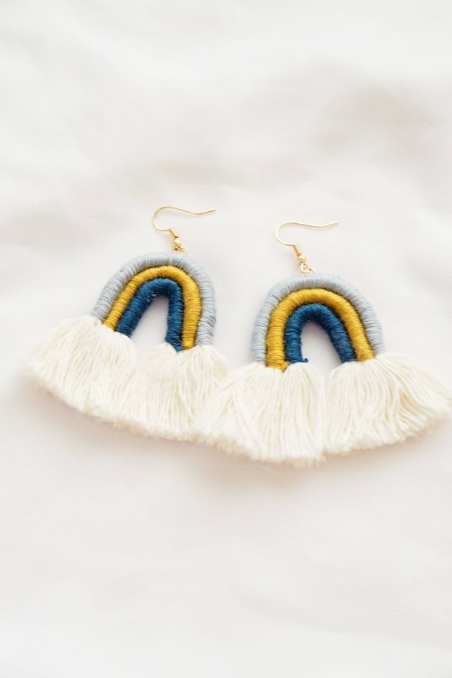 Rainbow Macramé Earrings (Navy)