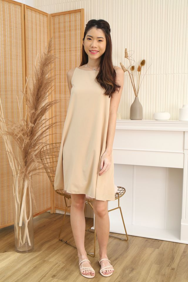Two Way Trapeze Dress in Beige