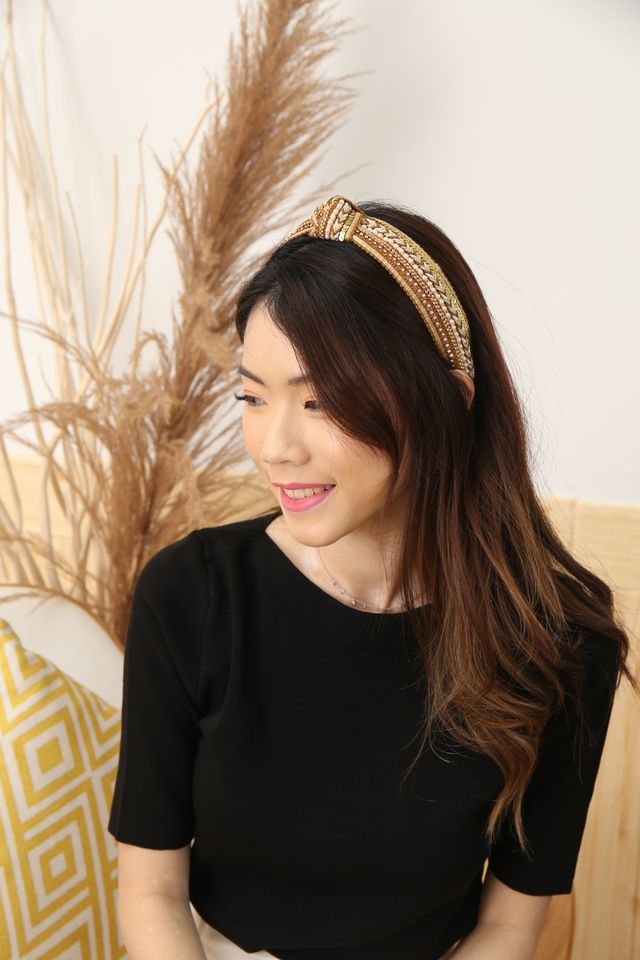 Embroidered Knot Headband (Beige)