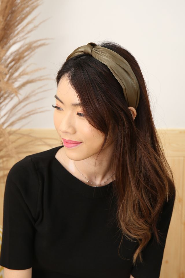 Satin Knot Headband (Olive)