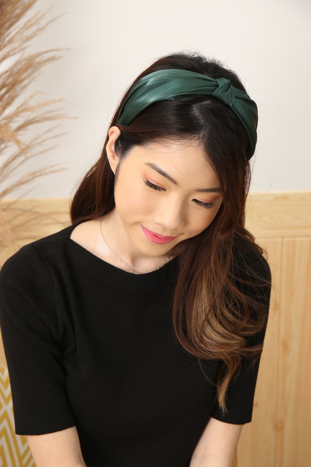 Satin Knot Headband (Forest)