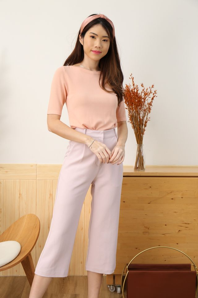 Boat Neck Knit in Baby Pink