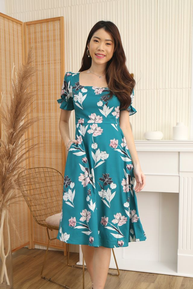 Emma Floral Midi in Emerald