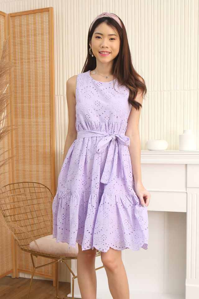Eyelet Babydoll Dress in Lilac
