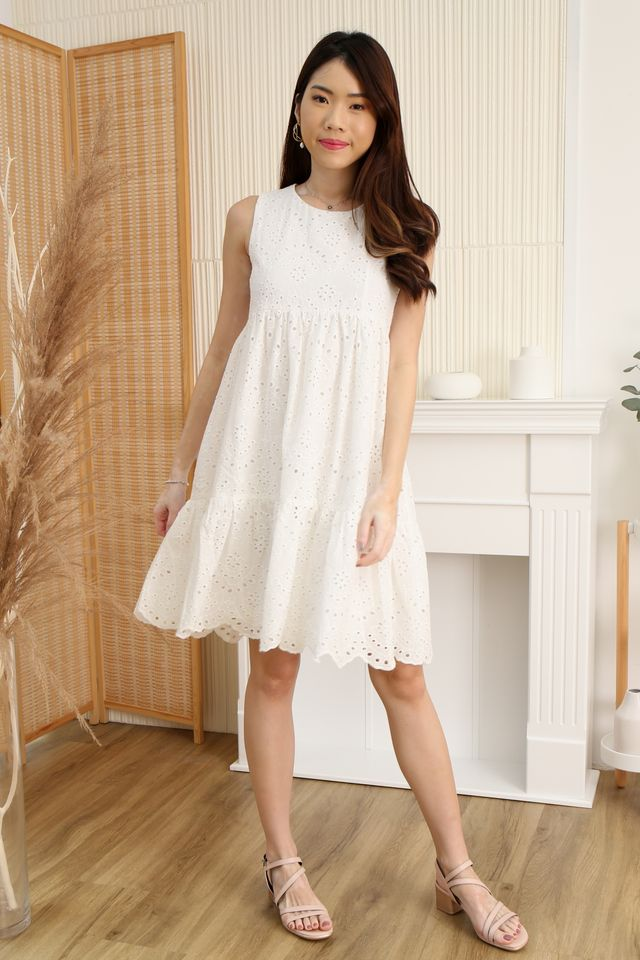 Eyelet Babydoll Dress in White
