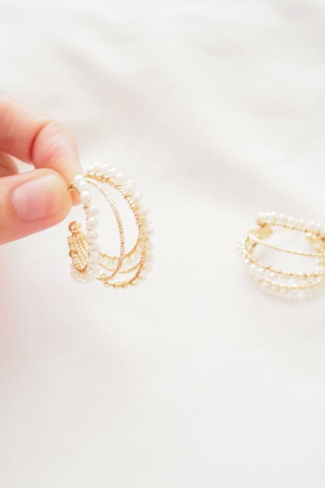 Layered Pearl Hoops