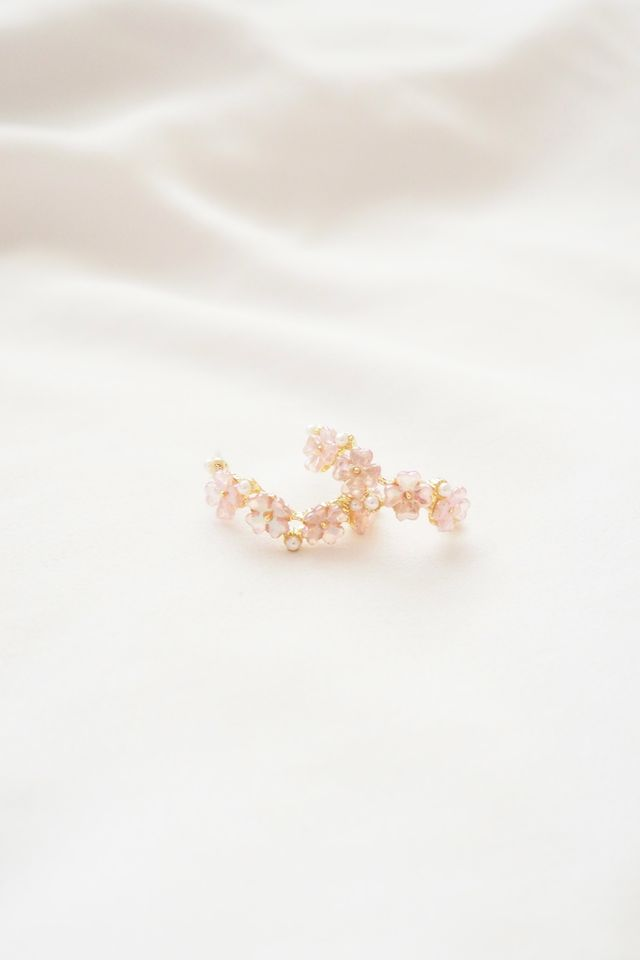 Tiny Flower Hoops in Pink