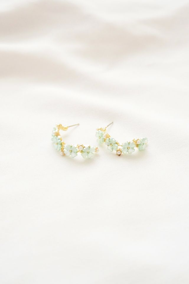 Tiny Flower Hoops in Mint