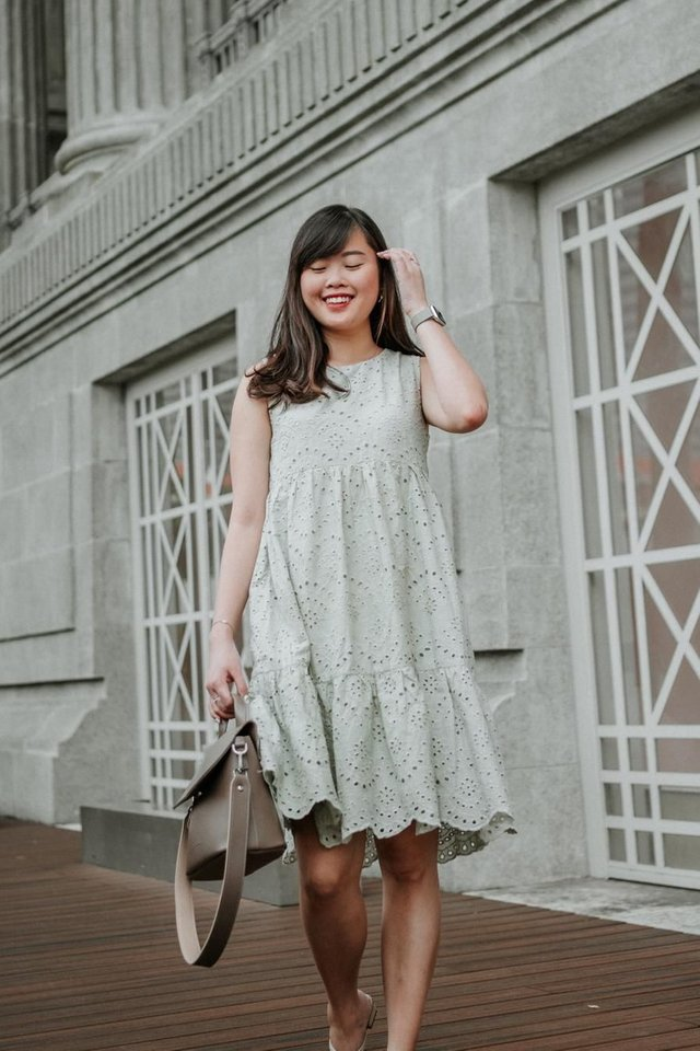 Eyelet Babydoll Dress in Sage