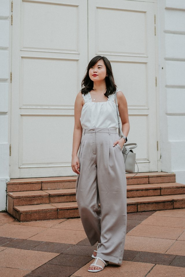 Wide Leg Pants in Lilac Grey