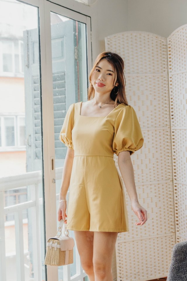 Puffy Sleeves Romper in Sunny [S]