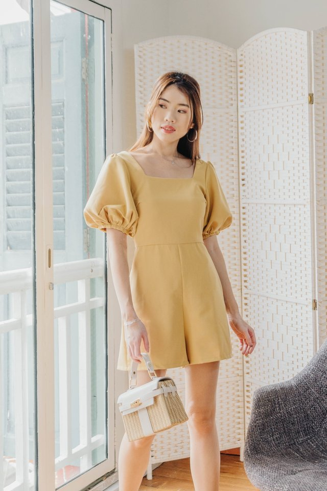Puffy Sleeves Romper in Sunny