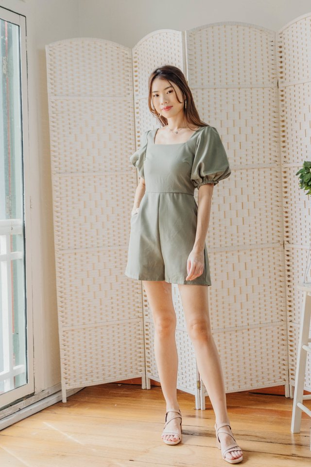 Puffy Sleeves Romper in Olive