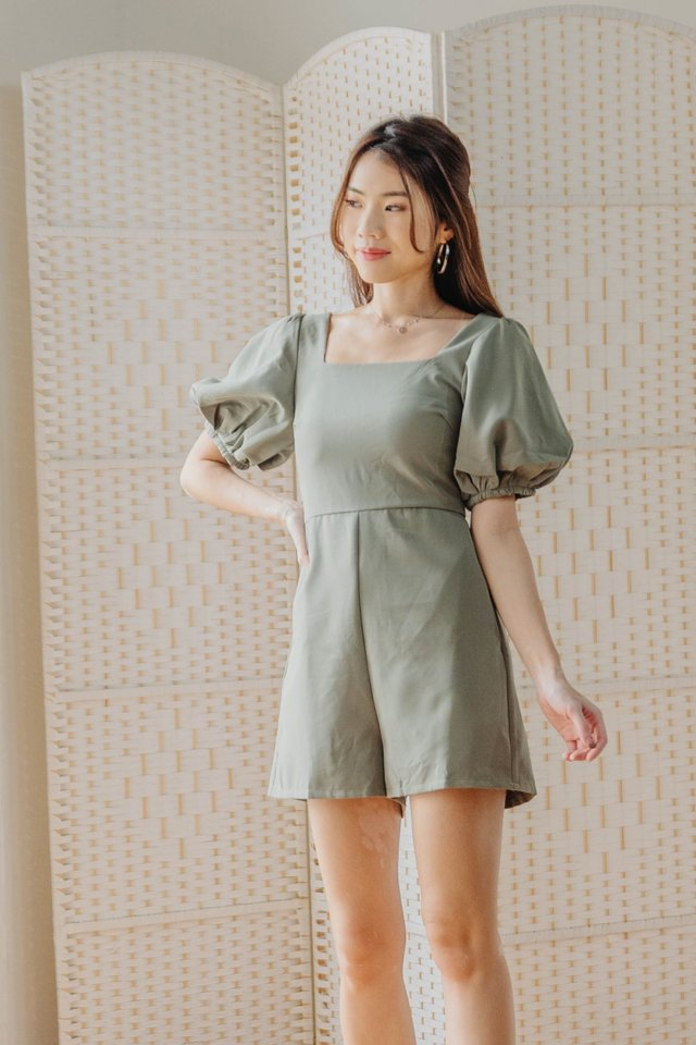 Puffy Sleeves Romper in Olive [S]