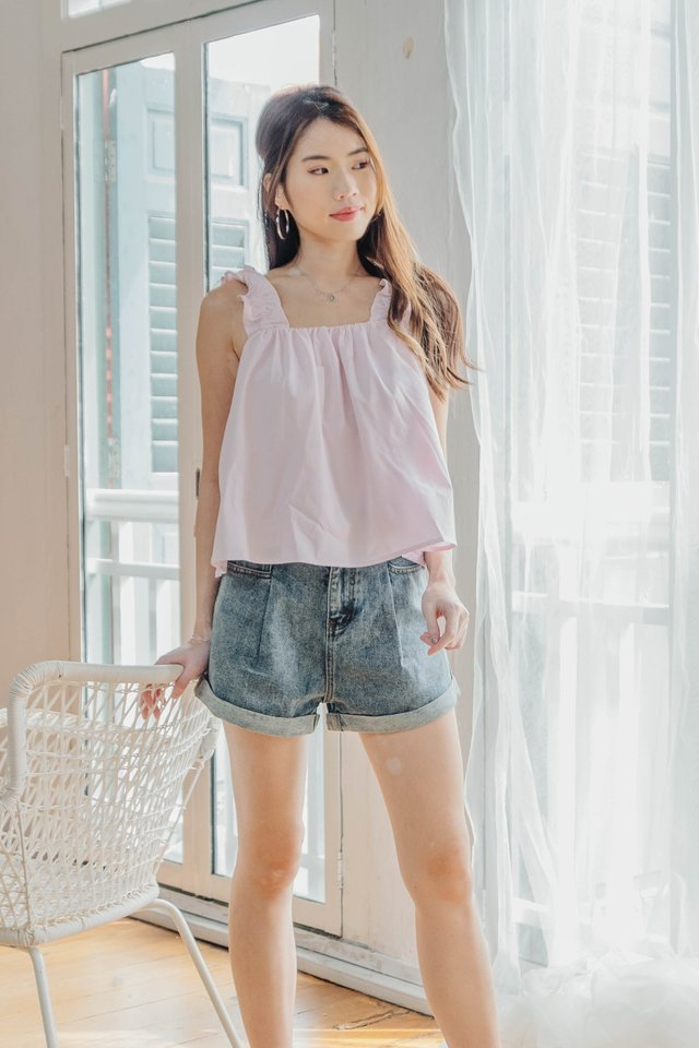 Ruffle Straps Top in Pink