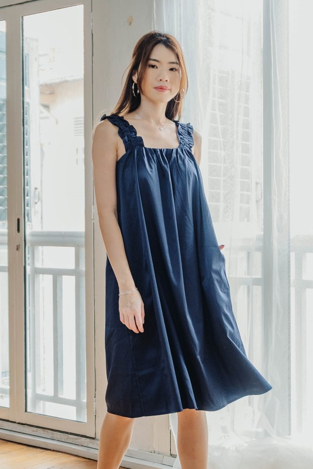 Ruffle Straps Dress in Navy