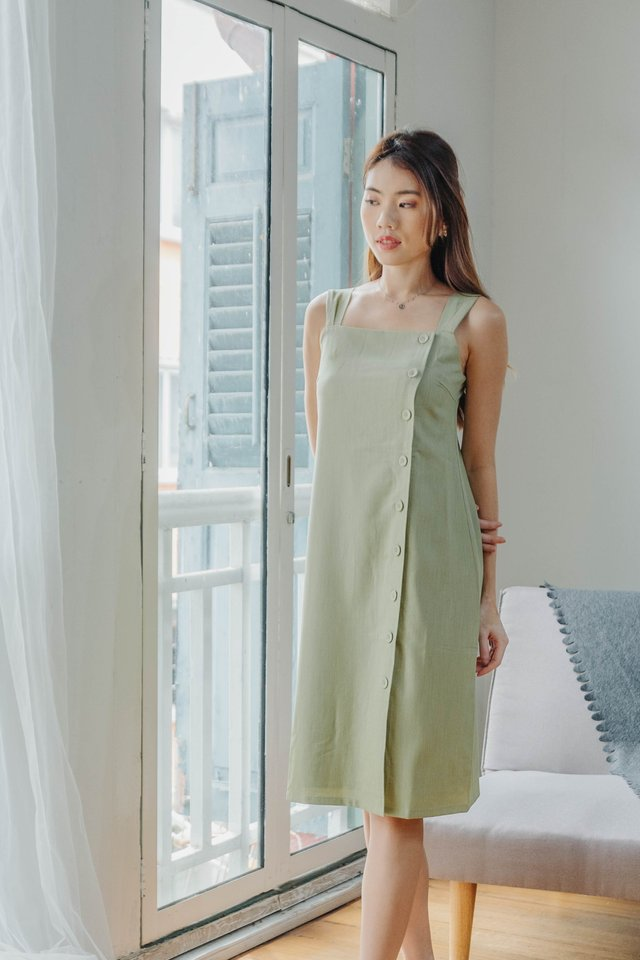 Maxim Button Down Dress in Tea