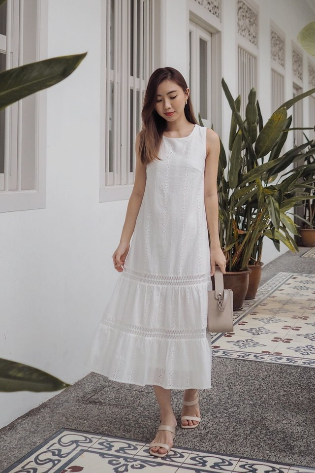 Lynn Midi Dress in White
