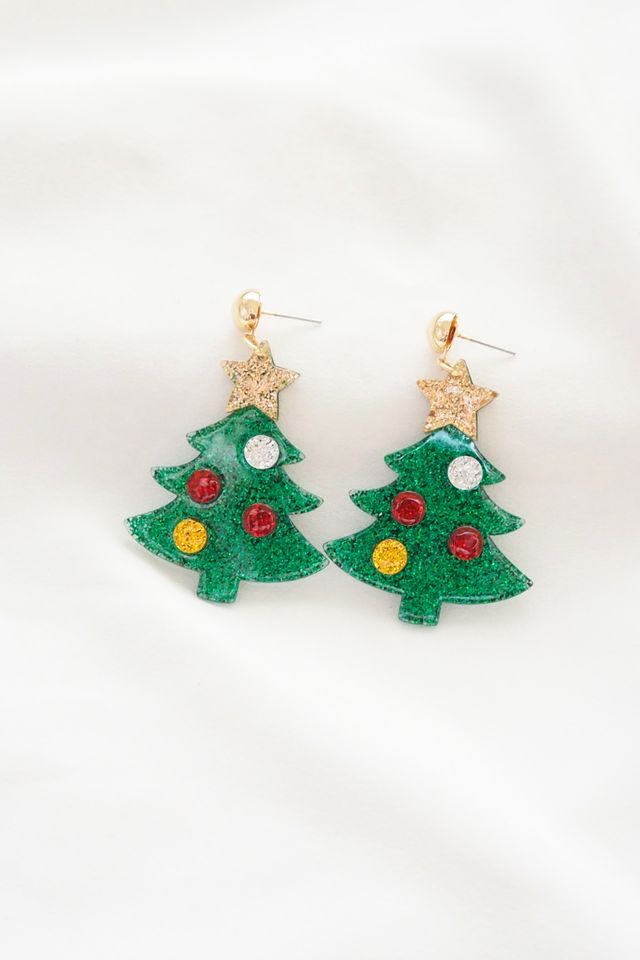 Christmas Tree with Ornaments Earstuds