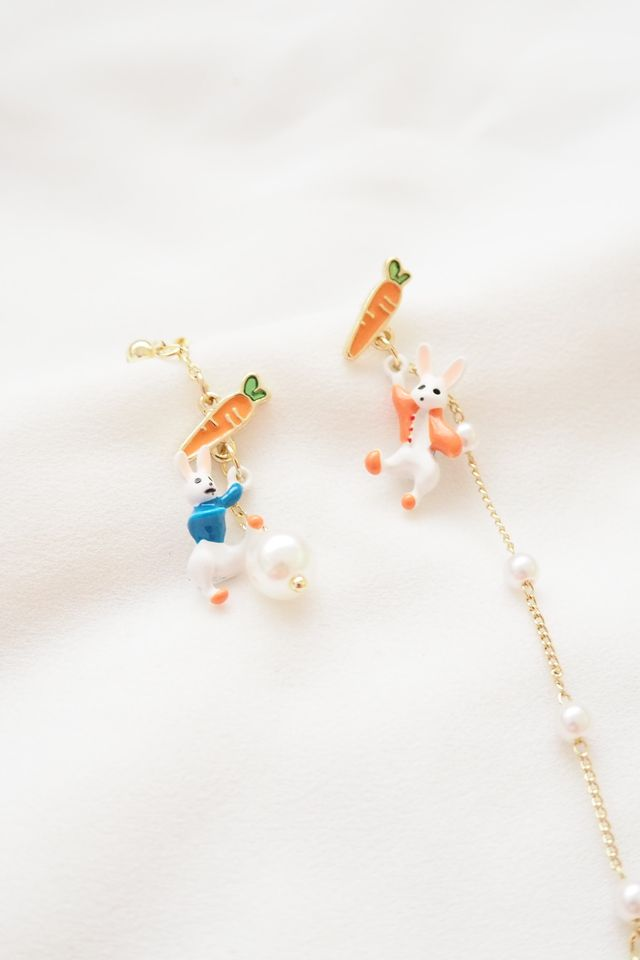 Rabbit & Carrot Mismatched Earstuds