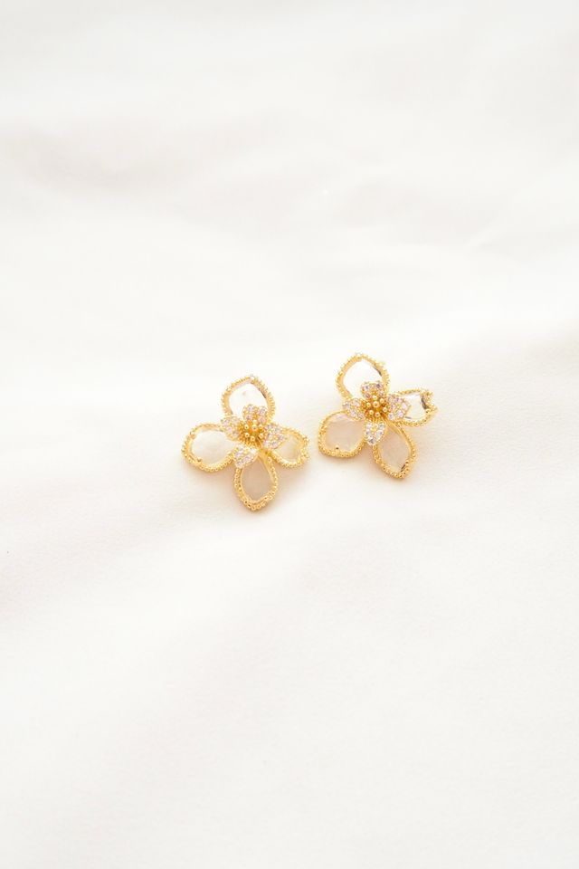 Glass Flower Earstuds (Clear)