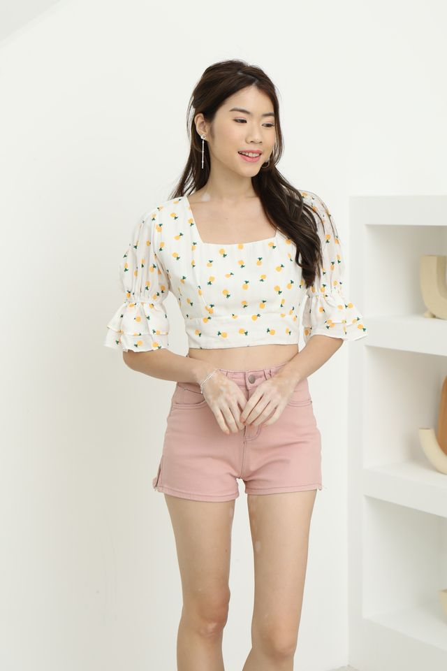 Pineapple Tie Back Top in White