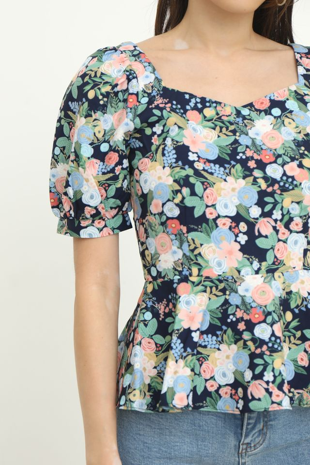 Sher Floral Peplum Top in Navy