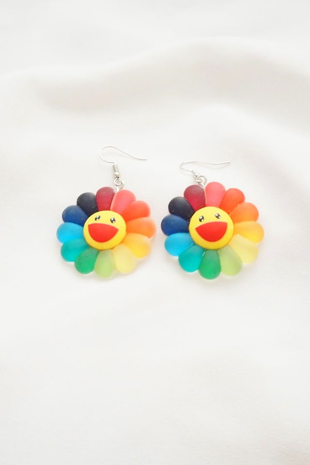 Upsized Rainbow Sunflower Earrings