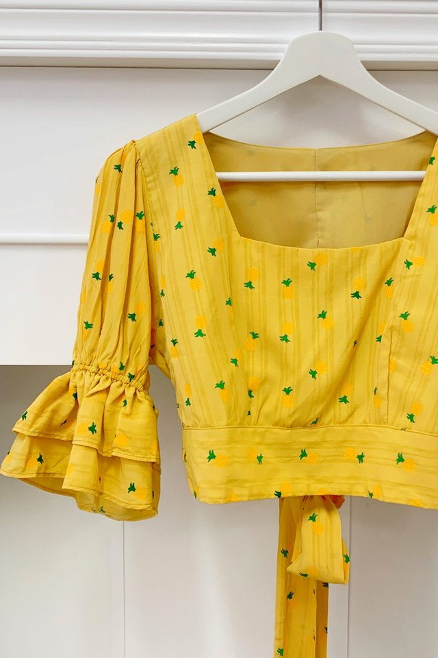 Pineapple Tie Back Top in Yellow
